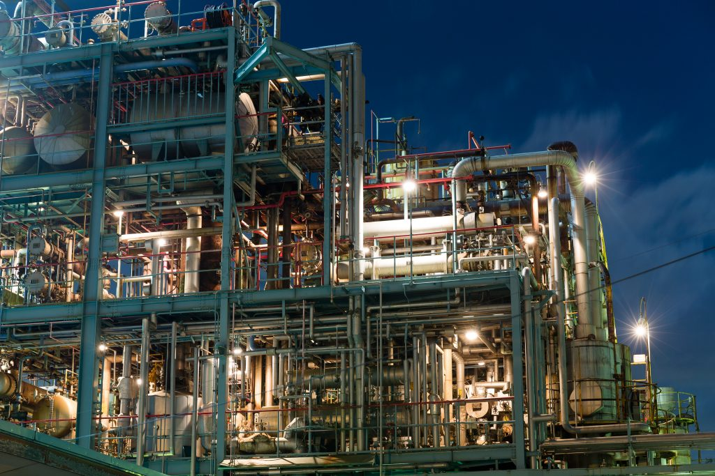 complex industry plant at night
