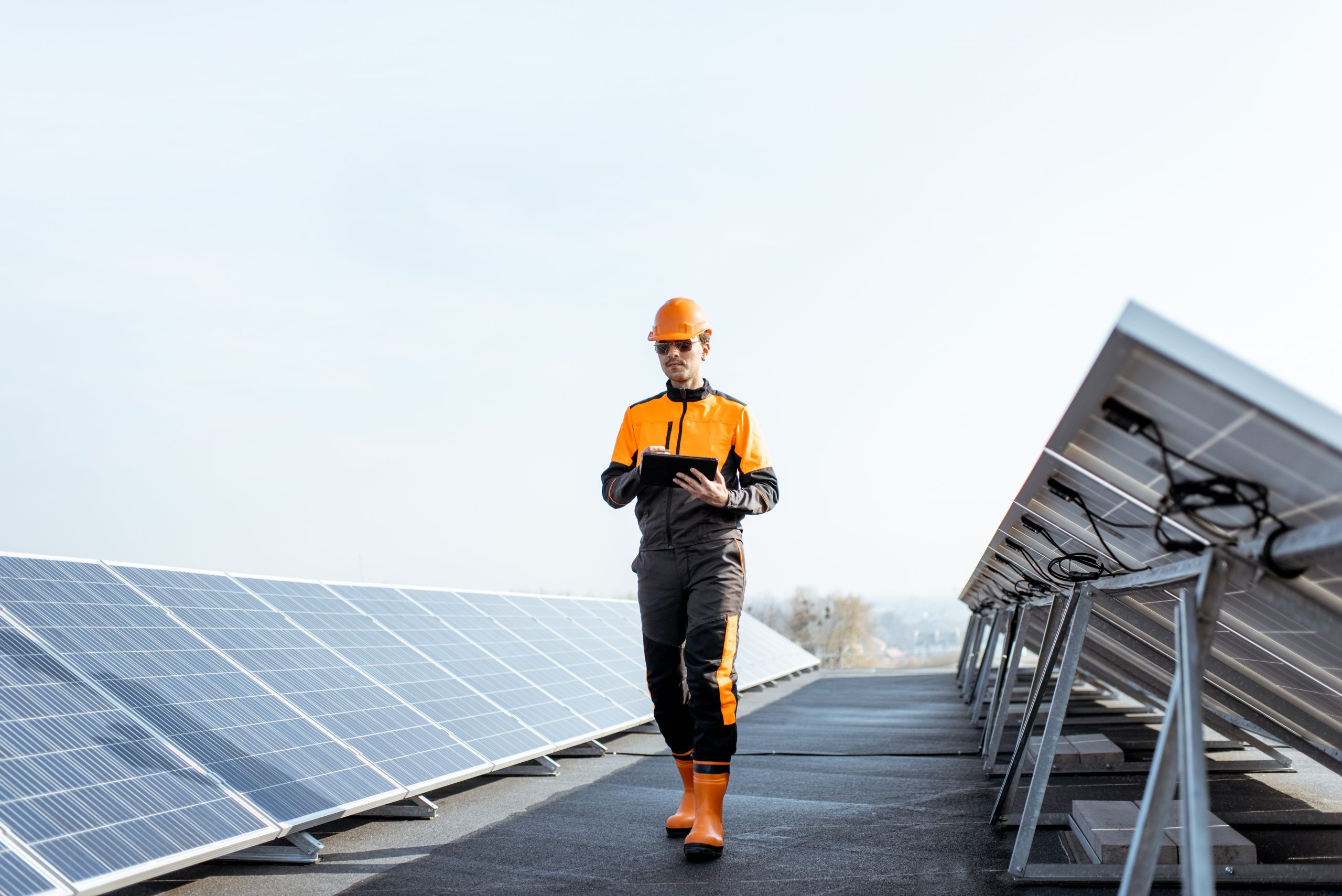 operator among solar pannels